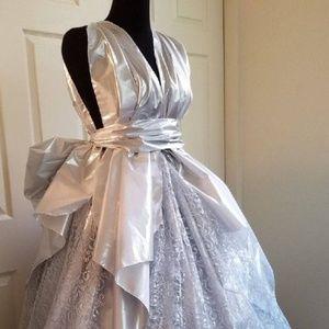 TAJI Silver Lame' & Lace Wedding Ballgown Set